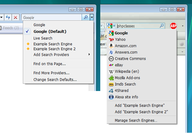 Browser Search Box demo screenshot with IE7,Firefox