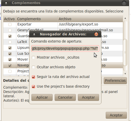 screenshot - Geany's Plugins Manager